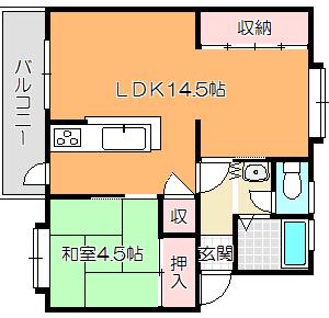 岸和田市下松町1LDK♪ 区画図