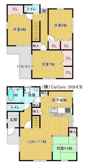 岸和田市上野町西に駐車3台OKの築5年ピカピカ中古戸建がでました♪ 間取り
