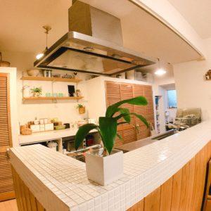 ◆キッチンのタイル上部にはレールが付いてるのでペンダントライトも設置可能です。